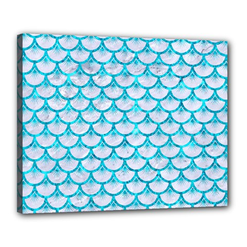 Scales3 White Marble & Turquoise Marble (r) Canvas 20  X 16  by trendistuff