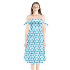 Scales3 White Marble & Turquoise Marble (r) Shoulder Tie Bardot Midi Dress by trendistuff