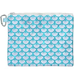 Scales3 White Marble & Turquoise Marble (r) Canvas Cosmetic Bag (xxxl) by trendistuff
