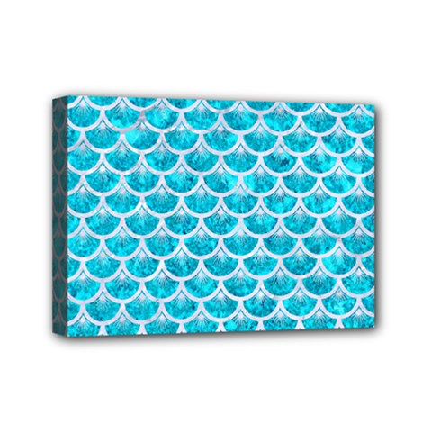 Scales3 White Marble & Turquoise Marble Mini Canvas 7  X 5  by trendistuff
