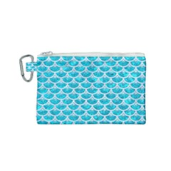Scales3 White Marble & Turquoise Marble Canvas Cosmetic Bag (small) by trendistuff