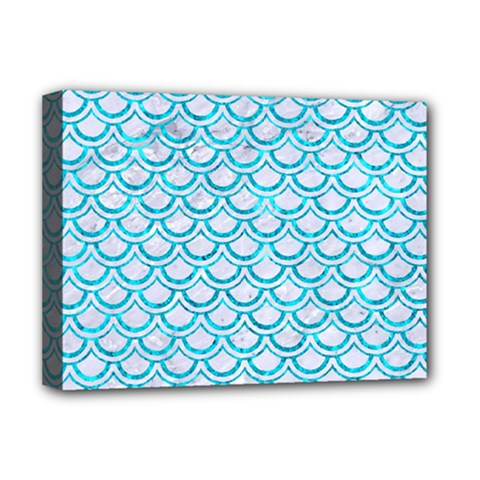 Scales2 White Marble & Turquoise Marble (r) Deluxe Canvas 16  X 12   by trendistuff