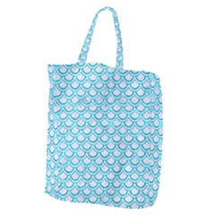 Scales2 White Marble & Turquoise Marble (r) Giant Grocery Zipper Tote by trendistuff