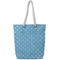 Scales2 White Marble & Turquoise Marble (r) Full Print Rope Handle Tote (small) by trendistuff