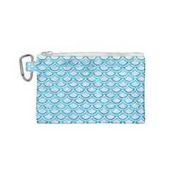 Scales2 White Marble & Turquoise Marble (r) Canvas Cosmetic Bag (small) by trendistuff
