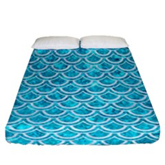 Scales2 White Marble & Turquoise Marble Fitted Sheet (queen Size) by trendistuff