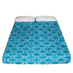 Scales2 White Marble & Turquoise Marble Fitted Sheet (california King Size) by trendistuff