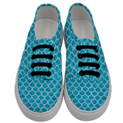 Scales1 White Marble & Turquoise Marble Men s Classic Low Top Sneakers