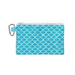 Scales1 White Marble & Turquoise Marble Canvas Cosmetic Bag (small) by trendistuff
