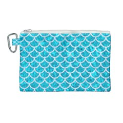 Scales1 White Marble & Turquoise Marble Canvas Cosmetic Bag (large) by trendistuff