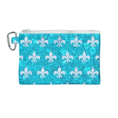 Royal1 White Marble & Turquoise Marble (r) Canvas Cosmetic Bag (medium) by trendistuff