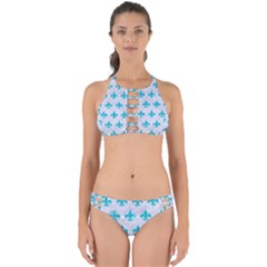 Royal1 White Marble & Turquoise Marble Perfectly Cut Out Bikini Set by trendistuff