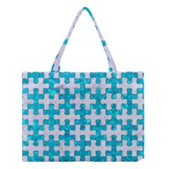 Puzzle1 White Marble & Turquoise Marble Medium Tote Bag by trendistuff