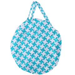 Houndstooth2 White Marble & Turquoise Marble Giant Round Zipper Tote by trendistuff