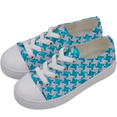 Houndstooth2 White Marble & Turquoise Marble Kids  Low Top Canvas Sneakers by trendistuff