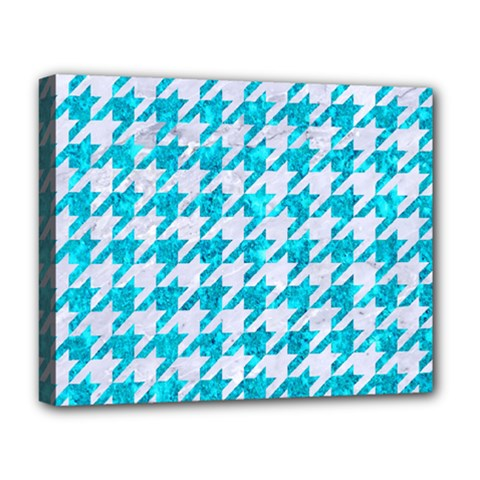 Houndstooth1 White Marble & Turquoise Marble Deluxe Canvas 20  X 16   by trendistuff