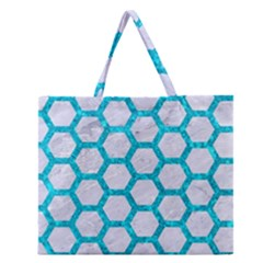 Hexagon2 White Marble & Turquoise Marble (r) Zipper Large Tote Bag by trendistuff