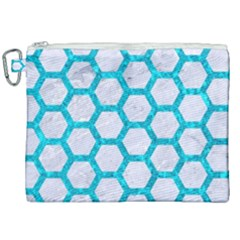 Hexagon2 White Marble & Turquoise Marble (r) Canvas Cosmetic Bag (xxl) by trendistuff