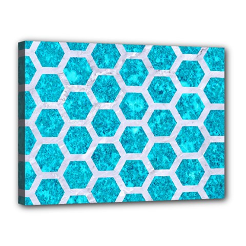 Hexagon2 White Marble & Turquoise Marble Canvas 16  X 12  by trendistuff