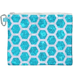 Hexagon2 White Marble & Turquoise Marble Canvas Cosmetic Bag (xxxl) by trendistuff