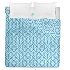 Hexagon1 White Marble & Turquoise Marble (r) Duvet Cover Double Side (queen Size) by trendistuff
