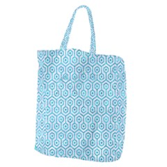Hexagon1 White Marble & Turquoise Marble (r) Giant Grocery Zipper Tote by trendistuff