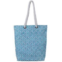 Hexagon1 White Marble & Turquoise Marble (r) Full Print Rope Handle Tote (small)