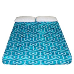 Hexagon1 White Marble & Turquoise Marble Fitted Sheet (king Size)