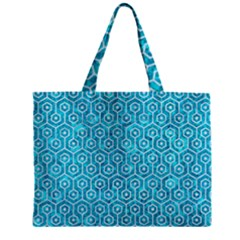Hexagon1 White Marble & Turquoise Marble Zipper Mini Tote Bag by trendistuff