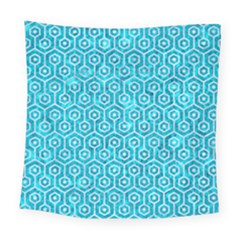 Hexagon1 White Marble & Turquoise Marble Square Tapestry (large) by trendistuff