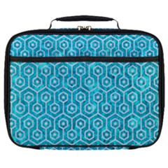 Hexagon1 White Marble & Turquoise Marble Full Print Lunch Bag by trendistuff