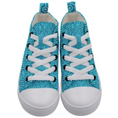 Hexagon1 White Marble & Turquoise Marble Kid s Mid Top Canvas Sneakers