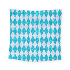 Diamond1 White Marble & Turquoise Marble Square Tapestry (small) by trendistuff
