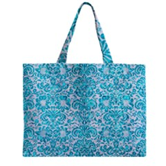 Damask2 White Marble & Turquoise Marble (r) Zipper Mini Tote Bag by trendistuff