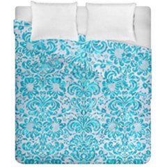 Damask2 White Marble & Turquoise Marble (r) Duvet Cover Double Side (california King Size) by trendistuff