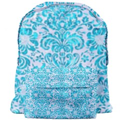 Damask2 White Marble & Turquoise Marble (r) Giant Full Print Backpack by trendistuff
