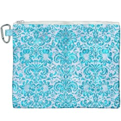 Damask2 White Marble & Turquoise Marble (r) Canvas Cosmetic Bag (xxxl) by trendistuff