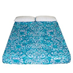 Damask2 White Marble & Turquoise Marble Fitted Sheet (california King Size) by trendistuff