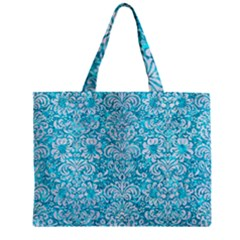 Damask2 White Marble & Turquoise Marble Zipper Mini Tote Bag by trendistuff