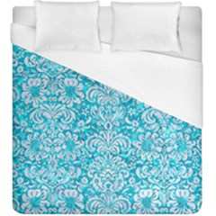 Damask2 White Marble & Turquoise Marble Duvet Cover (king Size) by trendistuff