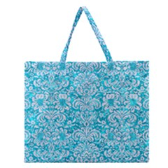 Damask2 White Marble & Turquoise Marble Zipper Large Tote Bag by trendistuff