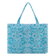 Damask2 White Marble & Turquoise Marble Medium Tote Bag