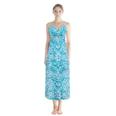 Damask2 White Marble & Turquoise Marble Button Up Chiffon Maxi Dress