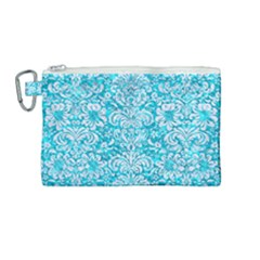 Damask2 White Marble & Turquoise Marble Canvas Cosmetic Bag (medium) by trendistuff