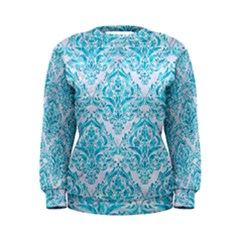 Damask1 White Marble & Turquoise Marble (r) Women s Sweatshirt
