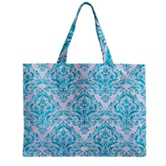 Damask1 White Marble & Turquoise Marble (r) Zipper Mini Tote Bag by trendistuff