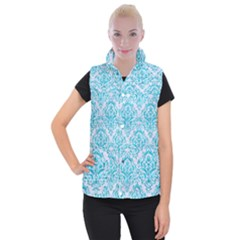 Damask1 White Marble & Turquoise Marble (r) Women s Button Up Vest by trendistuff