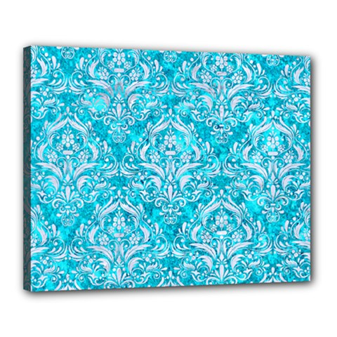 Damask1 White Marble & Turquoise Marble Canvas 20  X 16