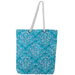 Damask1 White Marble & Turquoise Marble Full Print Rope Handle Tote (large) by trendistuff