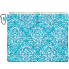 Damask1 White Marble & Turquoise Marble Canvas Cosmetic Bag (xxxl) by trendistuff